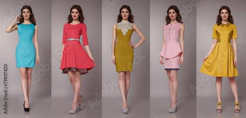 Fotografía  Sexy beauty business woman in fashion dress perfect slim body