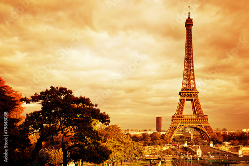 Eiffel Tower in Paris, France. Vintage, retro