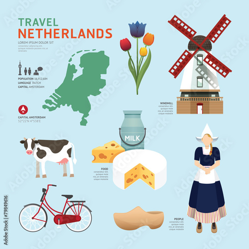 Photo Netherland Flat Icons Design Travel Concept.Vector