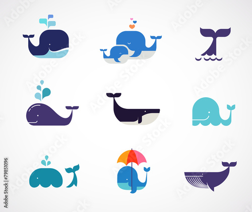 Obraz na plátne Collection of vector whale icons