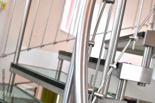 Glastreppe mit Edelstahl Fototapeta