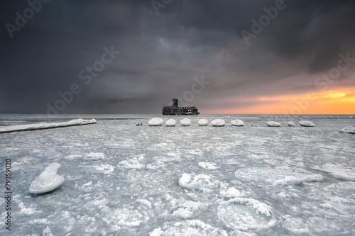 Fotobehang - Krajobraz Morski, morze, wybrzeże, Bałtyk, zima