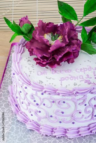 Garden Poster Wedding cake with flower