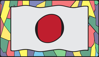 Naklejka Japoński Japan Flag On Stained Glass