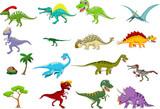 Fototapeta Dinusie - Dinosaur cartoon collection set for you design