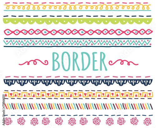 set of colorful hand drawn border Billede på lærred