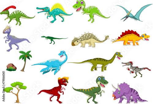 Fotografia, Obraz  Dinosaur cartoon collection set for you design