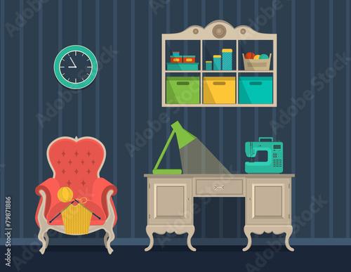 Spoed Foto op Canvas Violet interior rooms for crafts. Flat design.