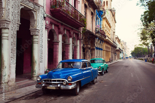 Recess Fitting Havana Classic old car on streets of Havana, Cuba