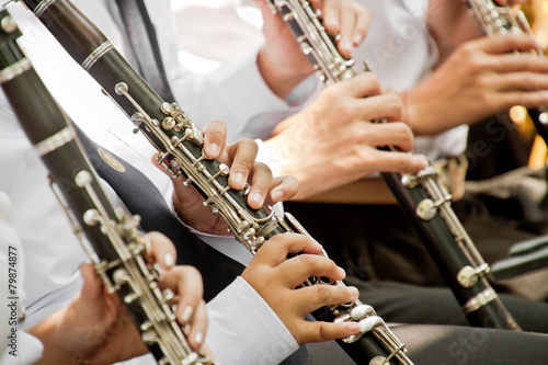 Photo Classical musician clarinet playing.