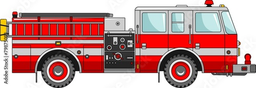 Fire truck on a white background in a flat style Poster Mural XXL
