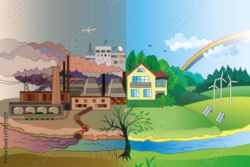 Fotografía  Environmental pollution and environment protection