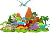 Fototapeta Dino - Dinosaur cartoon with landscape background