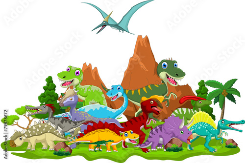 Photo  Dinosaur cartoon with landscape background
