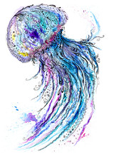 Jelly Fish Watercolor And Ink ...