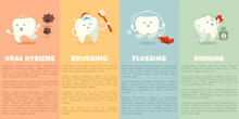 Oral Hygiene Booklet With Cute Tooth. Vector Illustration.