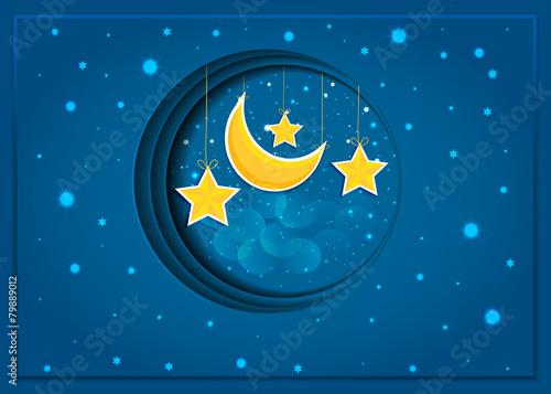 Tuinposter Hemel Cartoon stars in the night sky. Vector EPS10.