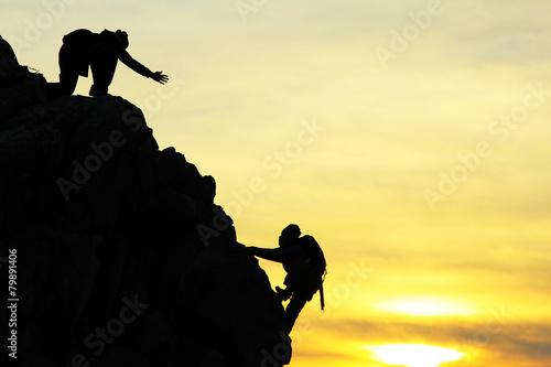 Fototapeta climbing silhouette&helping hands obraz na płótnie