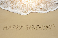 Happy Birthday Written On Sand...