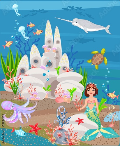 Photographie  Mermaid and underwater castle