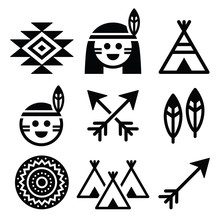 Indian American, Indigenous People And Culture Icons Set
