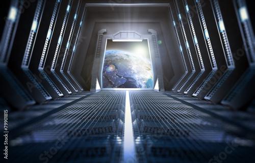 Fotografía  Earth seen from inside a space station