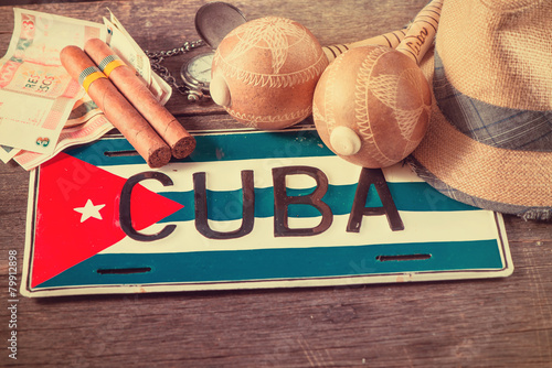Photo  Travel to Cuba concept of holiday related items