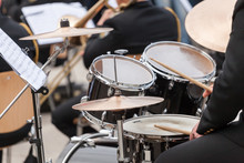A Drummer On The Concert. Close Up Process Play On A Drums