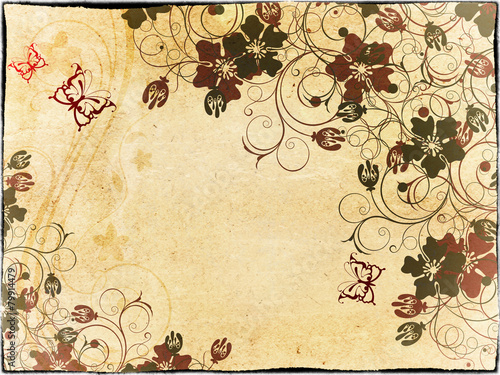 Photo sur Toile Papillons dans Grunge Grunge paper background with floral patterns.
