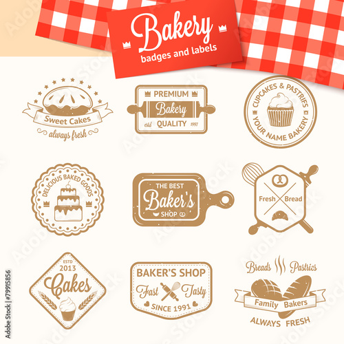 Recess Fitting Vintage Poster Vintage bakery badges, labels and logos