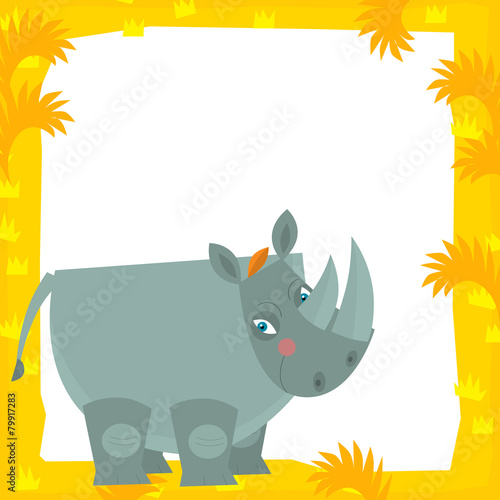 Cartoon frame scene - rhino - illustration