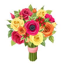 Bouquet Of Colorful Roses, Lis...