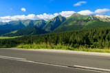 Road in green summer landscape of Tatra Mountains, Slovakia
