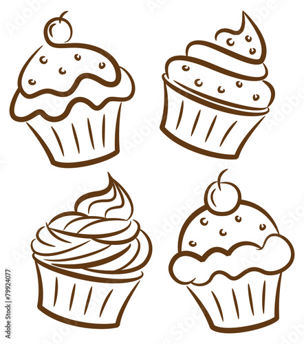 Photo  cupcake in doodle style