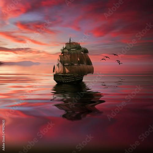 Poster Bordeaux Sailboat against beautiful sunset landscape
