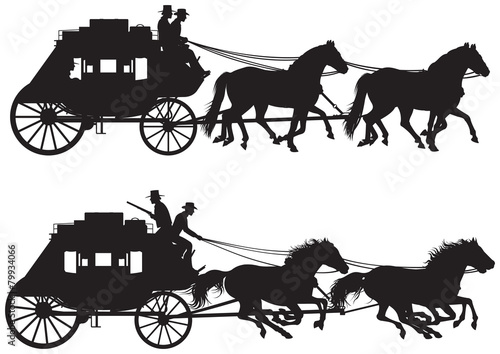 Stagecoach silhouettes Canvas-taulu
