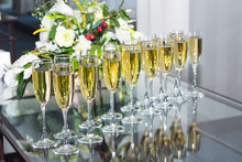Many Champagne Glasses In A Row