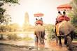 Leinwanddruck Bild - Elephants in Ayutthaya