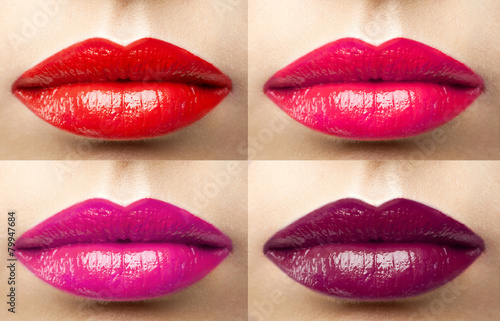 Fotografering  beautiful lips collection color wine, fuchsia, pink, red