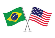 Brazilian And American Flags. Vector Illustration.