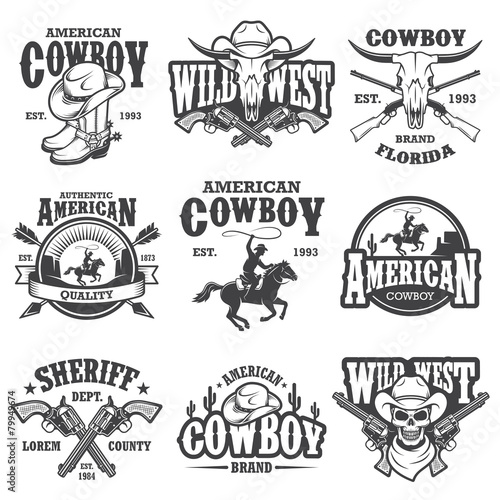 Set of vintage cowboy emblems Wall mural