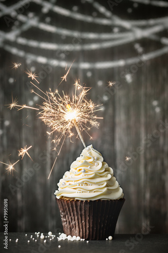 Cupcake with sparkler Wallpaper Mural