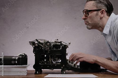 Fotografie, Obraz  Práce s starý psací stroj