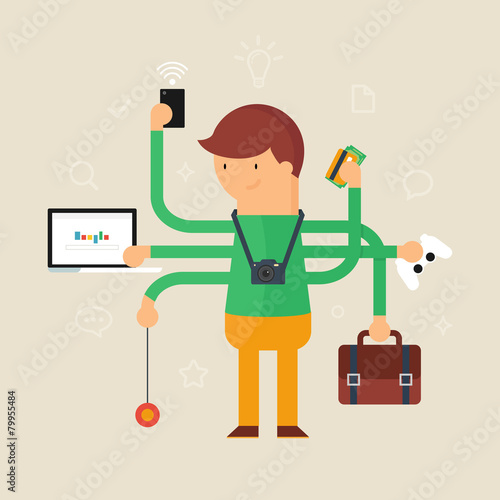 Multitasking man vector illustration, flat style Poster