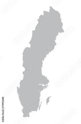 Fotomural  grey map of Sweden