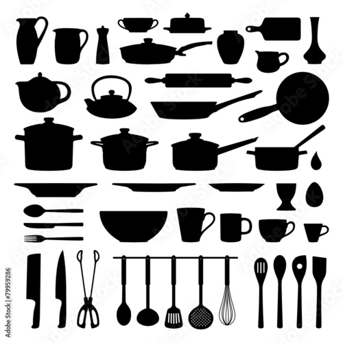 Kuchenutensilien Kochzubehor Silhouetten Set Buy This Stock Vector