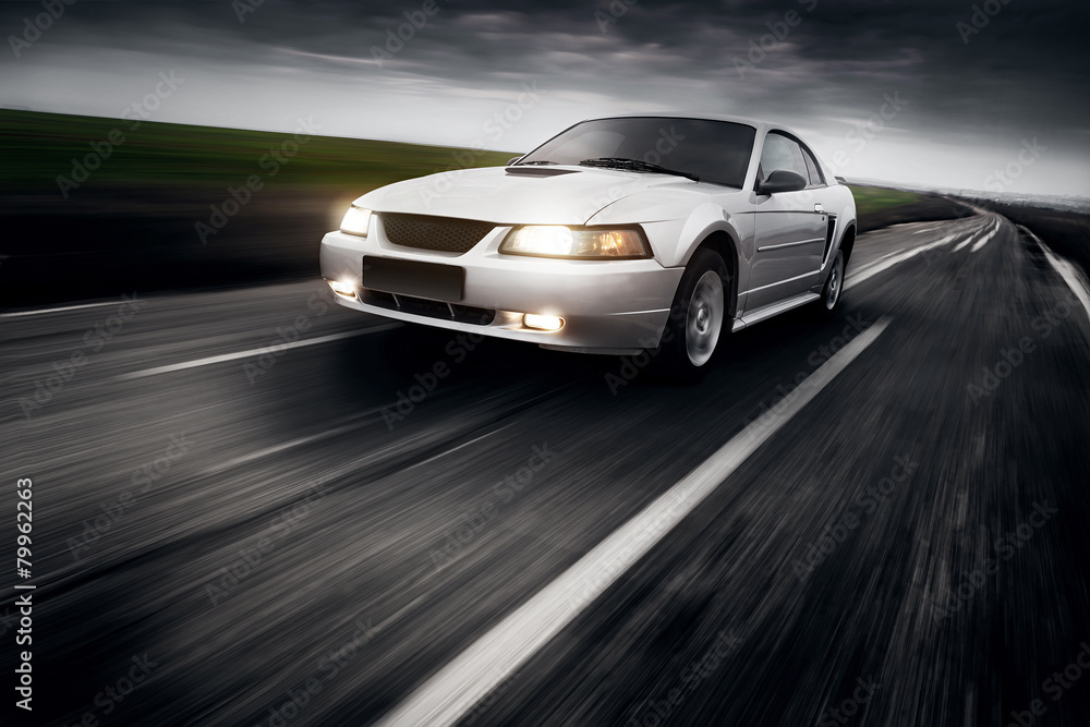 Fototapety, obrazy: Speed Car Clouds Asphalt