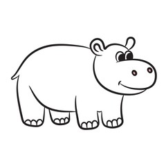 Outlined hippo vector illustration. Isolated on white.