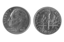 Old American One Dime Coin Liberty
