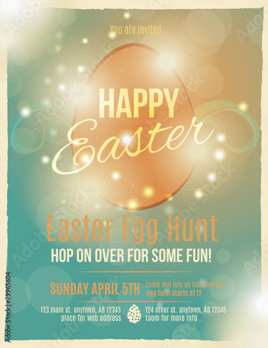 Photo  Bright and sparkling Easter egg hunt invitation flyer or poster